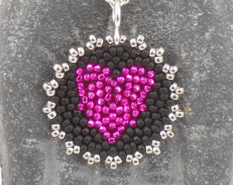 Beadwoven Heart Mandala Necklace ( hot pink / black licorice ) - - - sterling silver chain/ Lightweight/ Vibrant/ Unique/ Simple/ Colorful