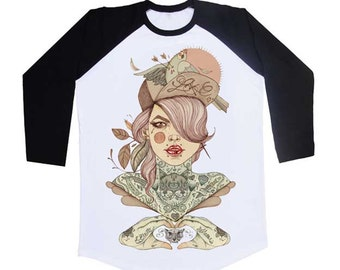 UNISEX Tattoo Baseball Shirt, Tattoo Woman, S/M/L/XL