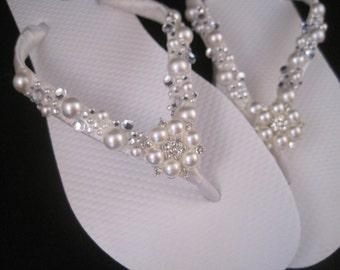 So Sweet Bride Gianna Pearl and Crystal Bridal Wedding Flip Flops