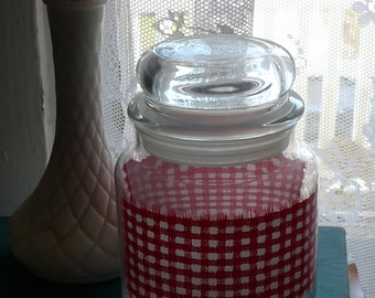 vintage glass jar red and white checkerboard