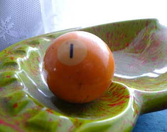 vintage billiards ball  one yellow ball 1950s 60s