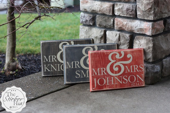 Mr & Mrs Sign With Your Custom Last Name By Thestickerhut