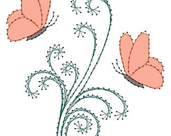 Swirling Butterflies Butterfly Embroidery Pattern for Greeting Cards