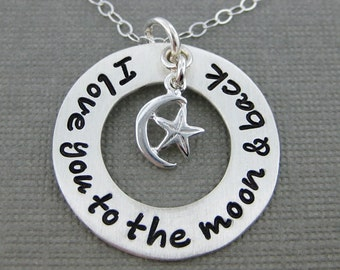 SALE 40% OFF - I love you to the moon and back necklace - Hand Stamped Special Message Jewelry (RTS014)