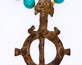 Gan Tribal Bronze Serpent & Turtle Amulet
