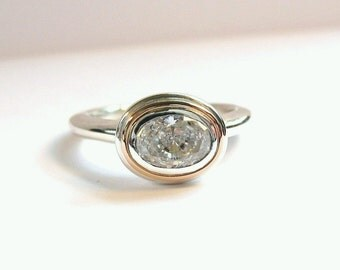 Sterling And 18kt Oval Solitaire