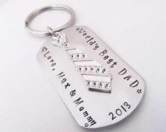 Personalized Dog Tag Keychain, personalized mens keychain, personalized mens gift, grandfather keychain personalized grandfather keychain
