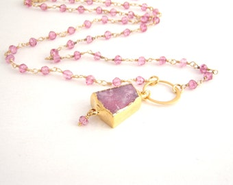 Geode Druzy Pendant On Pink Quartz, Rosary Necklace, Gold, Bubble Gum Pink,  Wire Wrapped