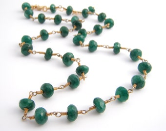 Emerald Strand Necklace, Rosary Style, Wire Wrapped, Emerald Green, Gold, May Birthstone