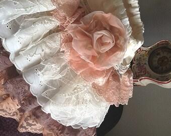 "Christmas photoshoot Lace Ruffled toddler skirt, Peach, Mocha, ""The Katherine"" by Rosanna Hope for Babybonbons,"