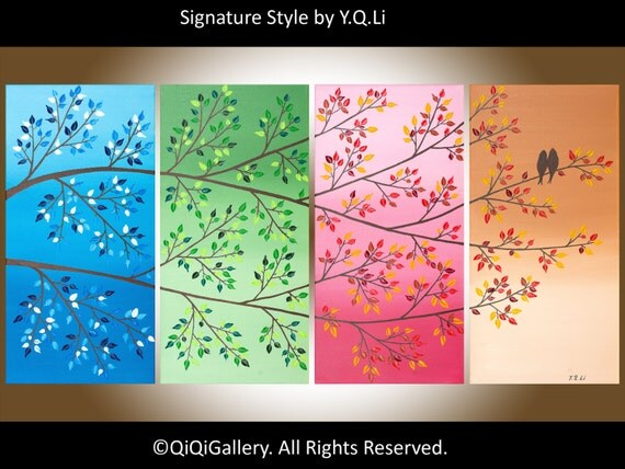 Original Large Abstract Landscape Painting Love Birds Hand made Four season trees painting Wall Décor QIQIGALLERY