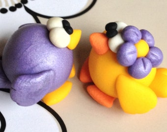 Miss and Mister Little Bird (Una coppia di uccellini) - A Little Polymer Clay Creation - No 22