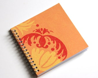 Small Coupon Organizer with 14 Pockets - Pre Printed Labels Included - red flourish on orange