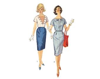 Vintage Sewing Pattern 1950s Pencil Skirt Sailor Crop Blouse 2 Piece Dress bust 32 Teen Size XS Simplicity 3799
