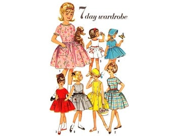 Vintage Sewing Pattern 1950s Girls Dress 7 Day Wardrobe size 10  Simplicity 4924