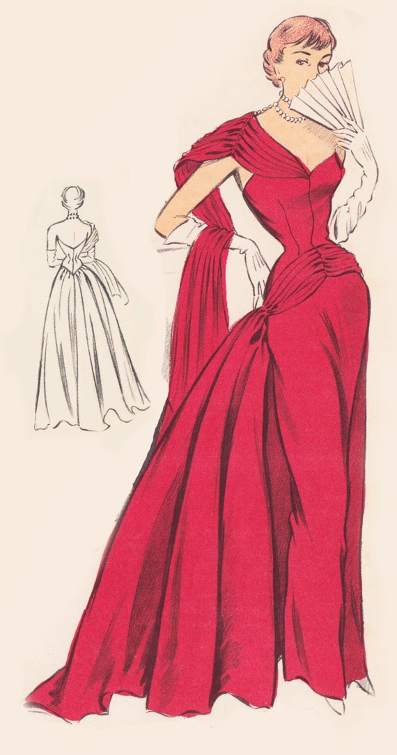 Vintage Sewing Pattern 1950 S Evening Ball Gown In Any