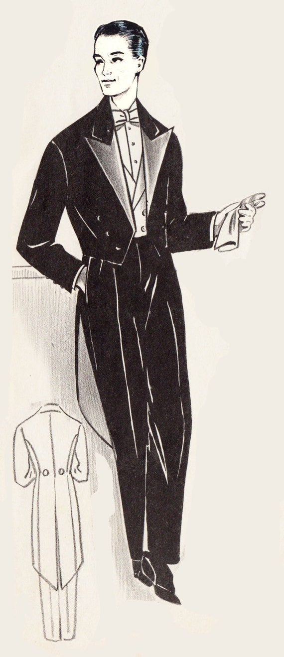 Men's Vintage Christmas Gift Ideas 1950s Mens Formal Tuxedo Jacket and Trousers in Any Size - PLUS Size Included -Depew 7116 -INSTANT DOWNLOAD- $9.50 AT vintagedancer.com