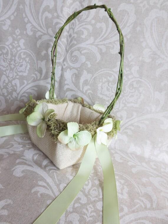 Flower Girl Basket Moss : Burlap moss flower girl wedding basket pale by