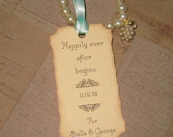 Wedding Wish Tags -  Happily ever after  - Personalized - Set of 50