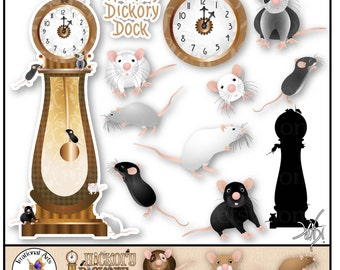 Hickory Dickory Dock set 1 - 15 digital clipart graphics of grandfather clock and mice {Instant Download}