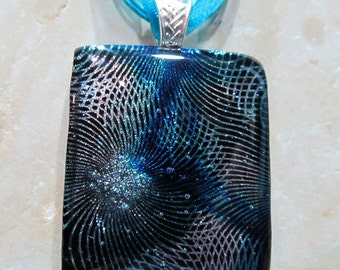 Fused Glass Pendant and ribbon necklace: Truly Cosmic