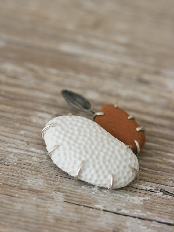 Formation No. 1 - Silver, Porcelain and Stone Brooch