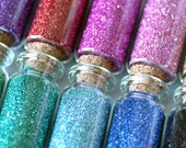 three vials of German glass glitter / 1/2 ounce / 90 grit fine glitter / 16 colors to choose from