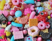 50pcs decoden cabochon mix / miniature resin sweets and kawaii cabochons for diy jewelry and deco phones
