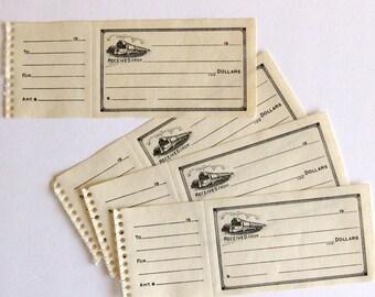 Vintage Railroad, Train Ticket Receipts, Perforated, Clean Unused (5 pieces) - Railroad Paper Ephemera
