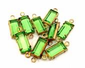 8 Vintage Swarovski 10x5mm Crystal Peridot 2 Loop Channel/Prong Set Baguettes, Glass Connectors, Article 963