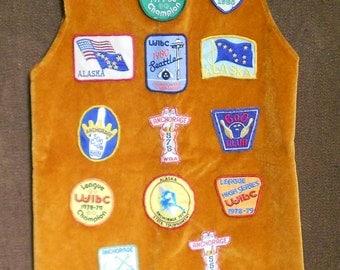 RETRO BOWLING VEST, vintage hippie geek bowling badges, 1970 s, nerdy cool, trendy, costume, ooak