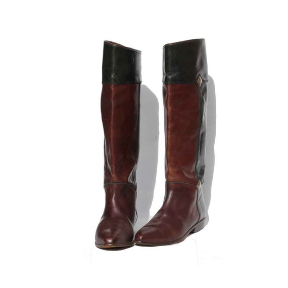 Italian Moss Green & Brown Leather Tall Boots size: 6.5