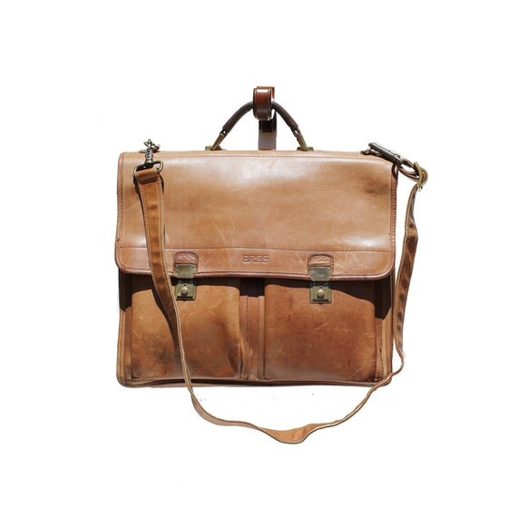 Natural Cork Brown Leather Briefcase Bag