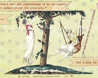 Jane Austen Card, Jane Austen Quote, Version 2, Friendship, Regency Card,  Swing, Springtime card, She