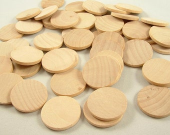 20 Wood Circles, Wooden Discs - 1 1/4 inch x 1/8 inch Unfinished Wooden Disks for DIY