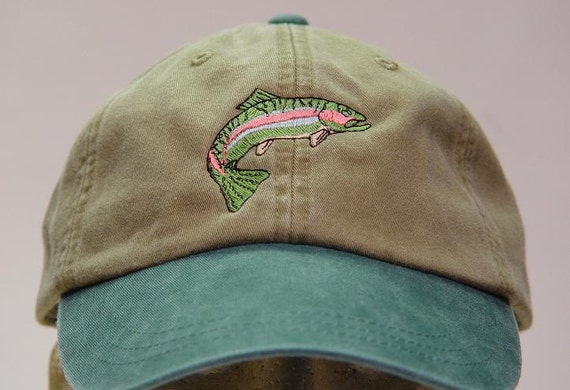 Rainbow trout hat one embroidered fish wildlife cap price for Trout fishing hat