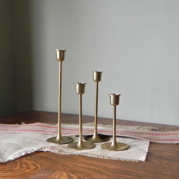 SALE Vintage candleholders mid century stair step set of four 4 tulip shape