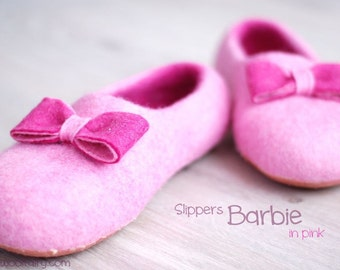 CUSTOM made slippers/ home shoes BARBIE in pink