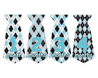 12 Pre-cut Monthly Baby Milestone Waterproof Glossy Stickers - Neck Tie Shape - Design T005-02