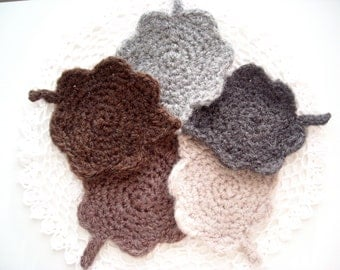 Crocheted Leaves Coaster Set - Hand Crocheted and Felted - Set of 5 / Winter Leaf Crochet Coasters