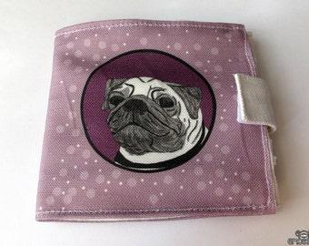 Purple Pug Wallet (with ID window and change pocket)