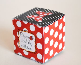 DIGITAL Favor Box or Cube Inspired by Minnie Mouse - Classic Red, Black and White with Polka Dots and Minnie's Bow