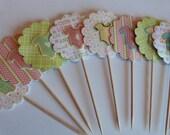Baby Shower Cute Flower Onesie Cupcake Toppers - 12 Paper Flowers - Cake or Cupcake Toppers