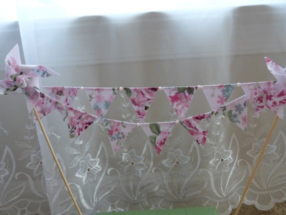 Pink Shabby Pearl Floral Chic Mini Cake Topper Bunting - Shower, Wedding, Birthday  Flags Banner