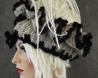 OOAK, Dreadi-wrap, Scarflette, Collar, Headband, Ecru,Black Tweed,Accessory,Hair Accessory,Head Wrap,Women,Freeform Crochet