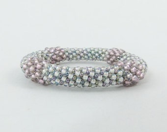 Rose Bliss Bead Crochet Rope Bangle Bracelet, Wedding or Prom Jewelry- Item 1309