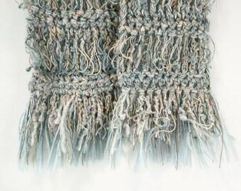 Aqua Crocheted Scarf: Flirt with Texture - Item 1048