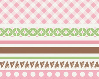 Sew Cherry by Riley Blake, Stripes in Pink - 1 Yard - Reduced - Last One