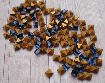 Swarovski 3mm Montana Sapphire Blue Gold Foiled Pointed Back Square Glass Jewels or Cabs (12 pieces)
