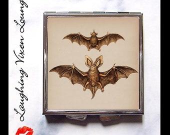 Vampire Mirror - Vintage Bat Compact Mirror Style-K - Bat Pill Box - Bat Pill Case - Vampire Compact Mirror
